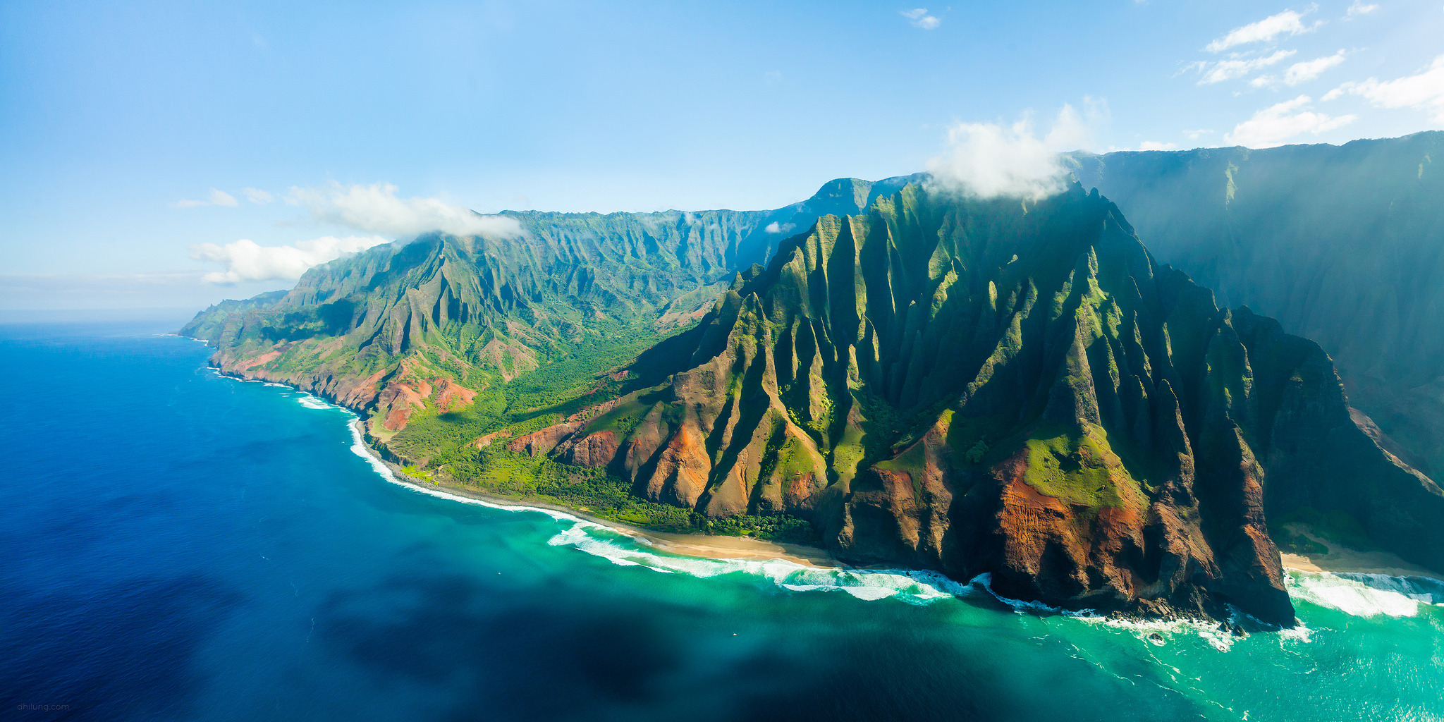 Na Pali Coast, Kauai, Hawaii - An aerial panorama shot taken from a helicopter. Many TV series and movies, including Jurassic Park, were filmed here in this Hawaiian island Kauai, also known as the 'Garden Isle'.